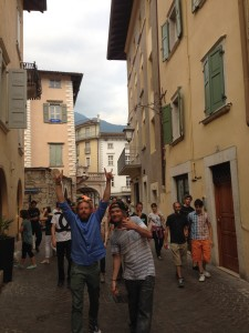 Class wandering the streets in Arco, Italy.