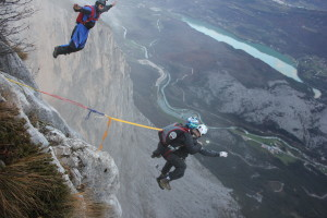 Tandem Base Jump at Monte Brento.  Instructor: Sean Chuma and Passenger: Maurizio Di Palma.