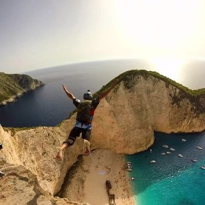 Base Jump over Shipwreck Beach in Zakynthos, Greece.