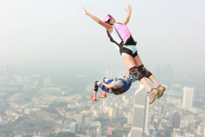 Jenny Zolla and Sean Chuma Jumping from KL Tower in KL, Malaysia.