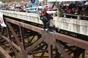 Tandem Base Jumps at Bridge Day in Fayetteville, West Virginia.